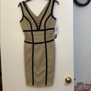 Linen and black XOXO plunging neckline dress